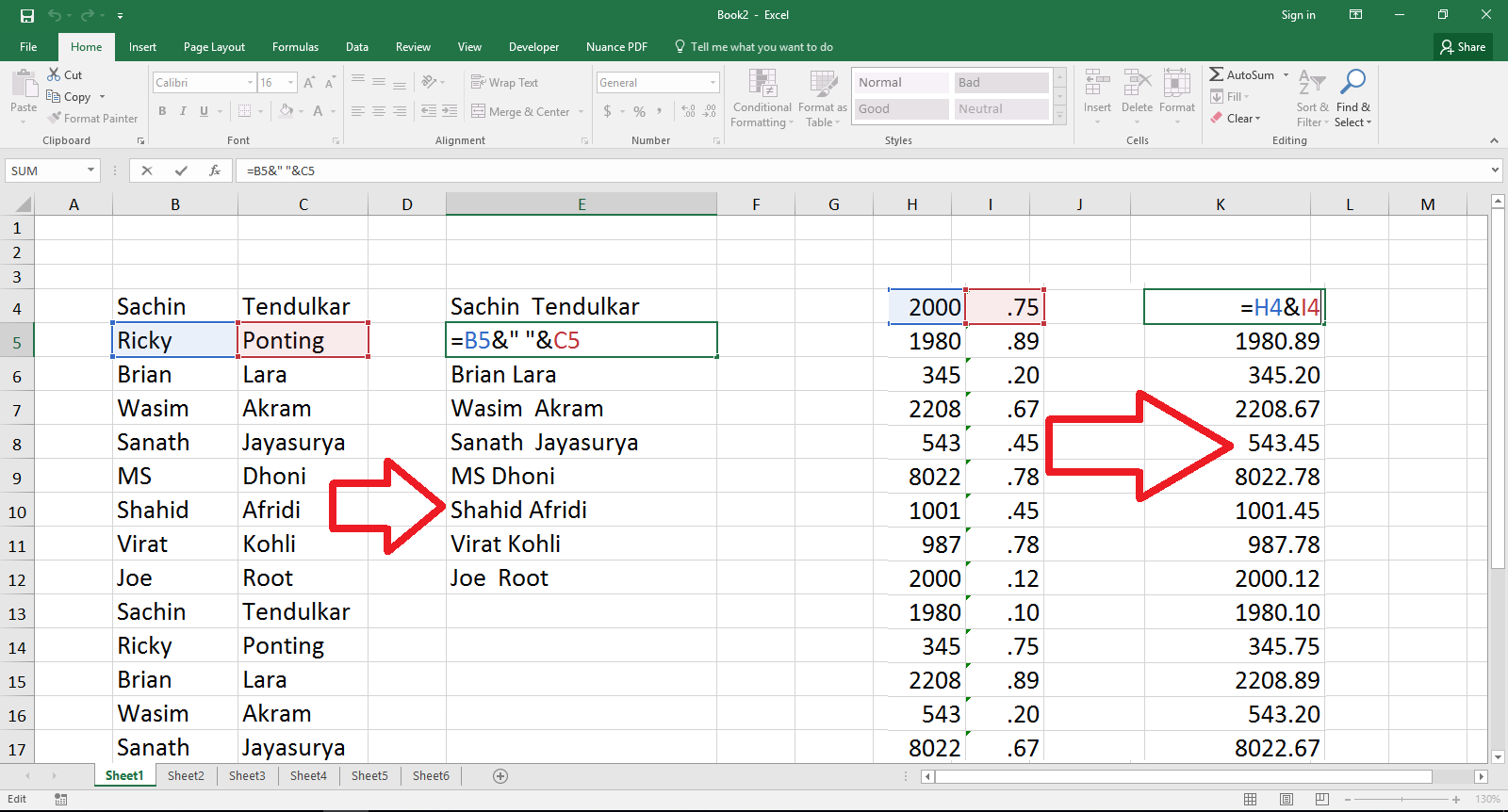 Learn New Things Ms Excel How To Combine Multiple Cells