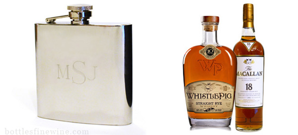 engraved flask whiskey glass bottles