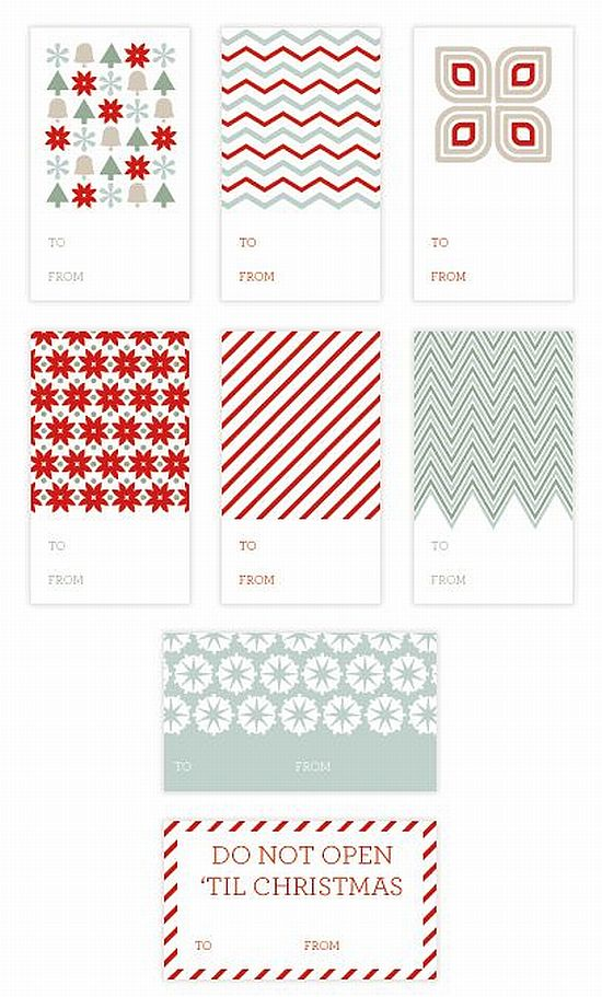 lovely mint, grey and red printable Christmas gift tags for free
