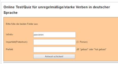 موقع للتدرب على الافعال الغير النظامية في اللغة الالمانية مع الحلول  Online Test unregelmäßige Verben
