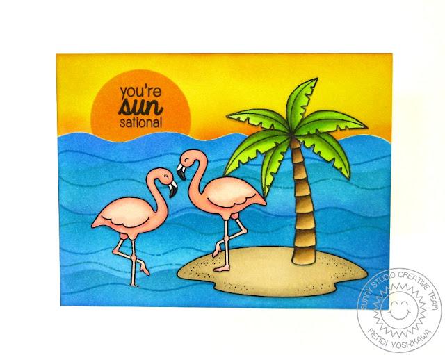 Sunny Studio: Island Getaway & Tropical Paradise Flamingo Card by Mendi Yoshikawa