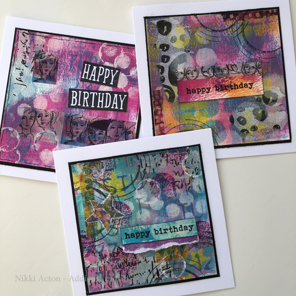 Dina Wakley paints, washi and collage paper - birthday cards my Nikki Acton