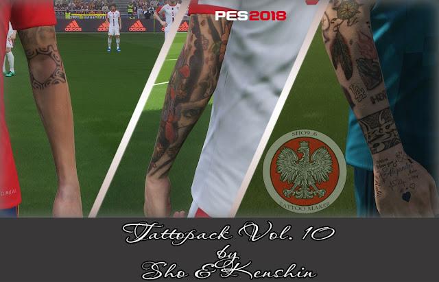 PES 2018 Tattoo Pack V10 dari Sho & Kenshin