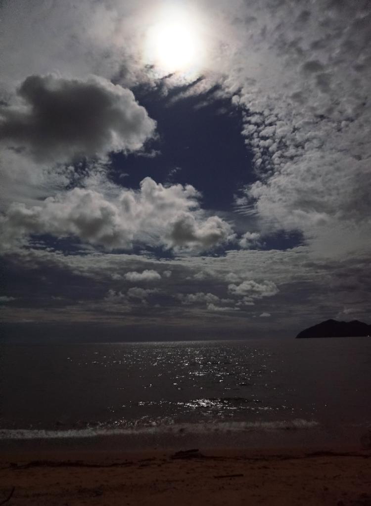 beach at nighttime with full moon, Mission Beach, Australia, Euriental