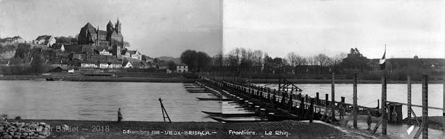 Pont de bateau de Brisach en 1918