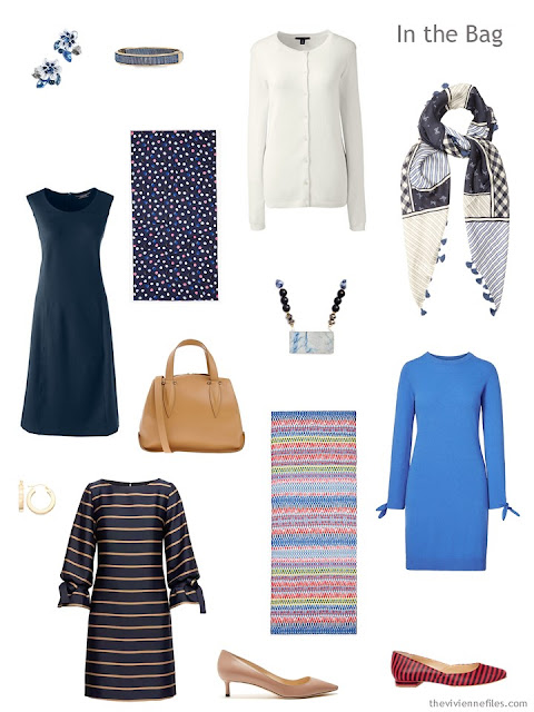 Tote Bag Travel capsule wardrobe of 3 dress and 1 cardigan in navy, blue and ivory