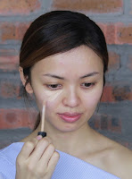 Next is to conceal under eyes, imperfections area and some to the bridge of  nose to make it as a highlighter base.