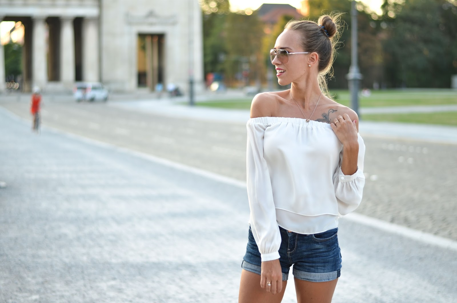 kristjaana mere white off shoulder top