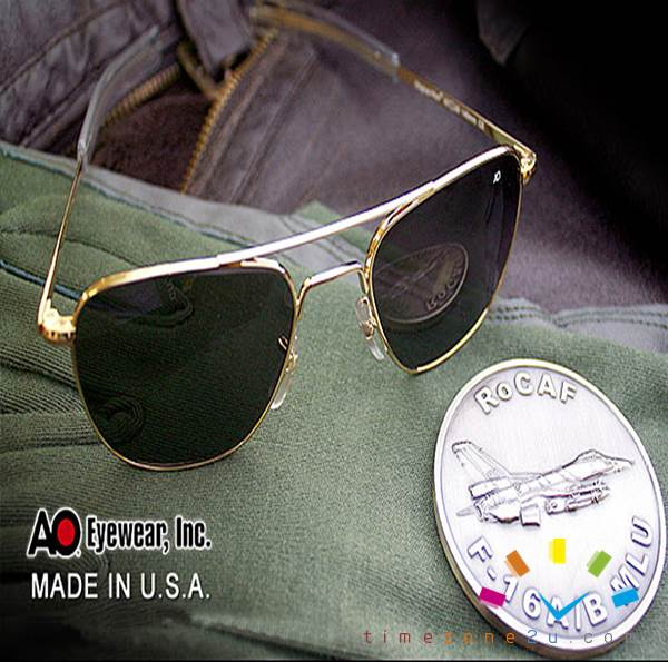 2068d20e936 AO Military Original Pilot Aviator Sunglasses (55mm 57mm Gold