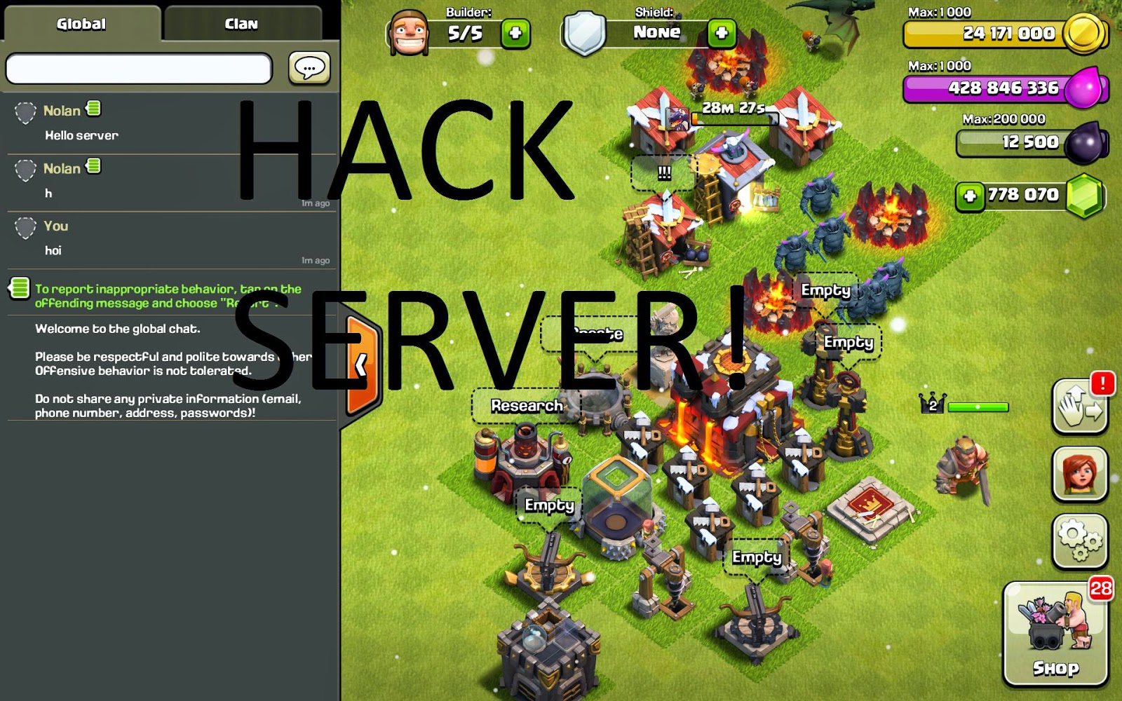 gems cheat for clash of clans