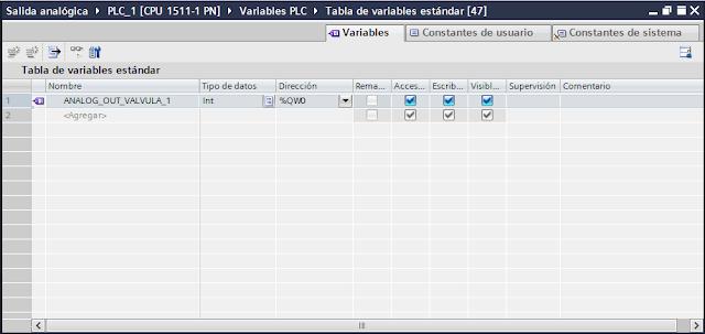 Añadir variable para salida analógica TIA Portal V14