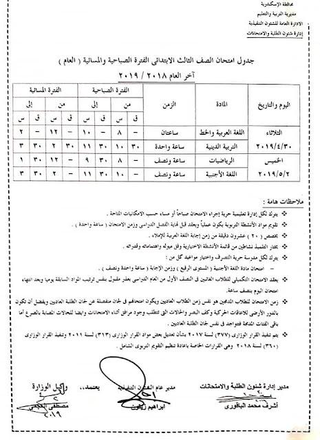 """رسمي ومختوم من الوزير """"جداول امتحانات نهاية العام 2019"""" الترم الثاني لمحافظات مصر 1 6/4/2019 - 5:34 م"""
