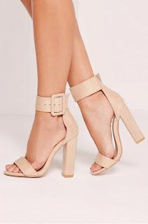 sandale cu toc inalt gros din materil textil
