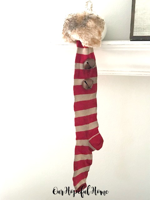 striped vintage Christmas stocking bells faux fur trim