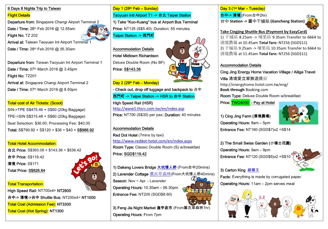 Our Itinerary For The Next 9 Days And 8 Night To Taiwan