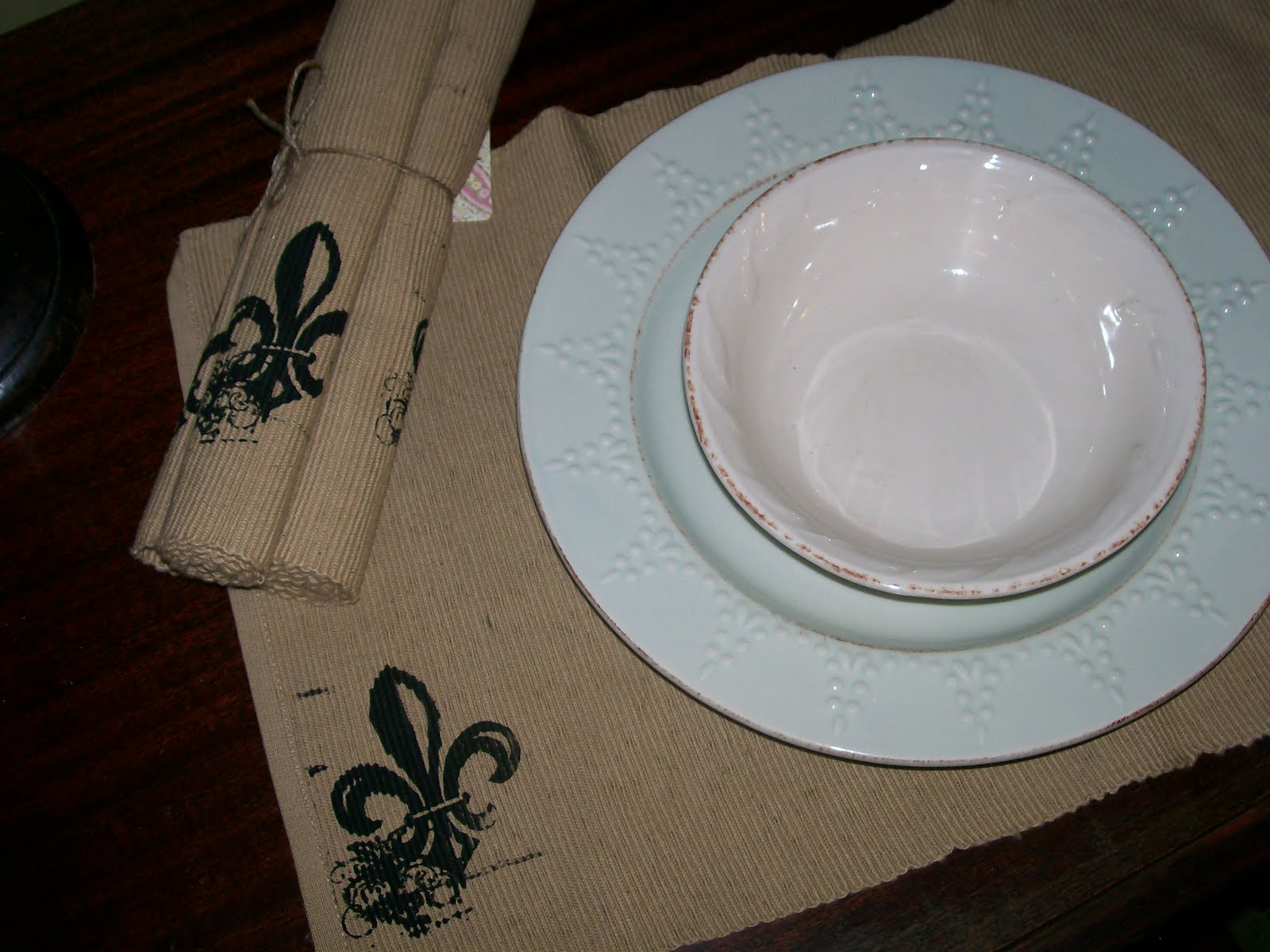 Sold Fleur De Lis Printed Table Runner And Placemats