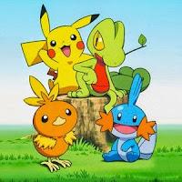 Pikachu, Torchic, Treecko y Mudkip