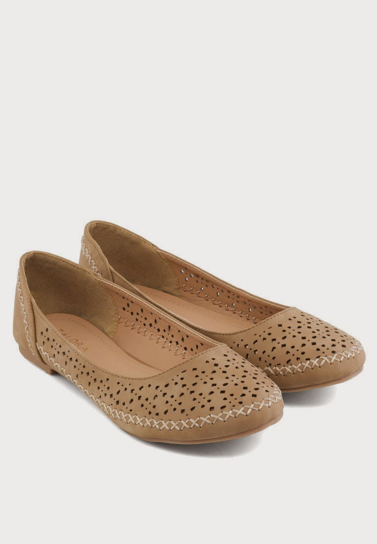 Laser Cut Flat With Contrast Stitching - Zalora