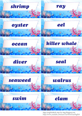 words to use with sea animals flashcards
