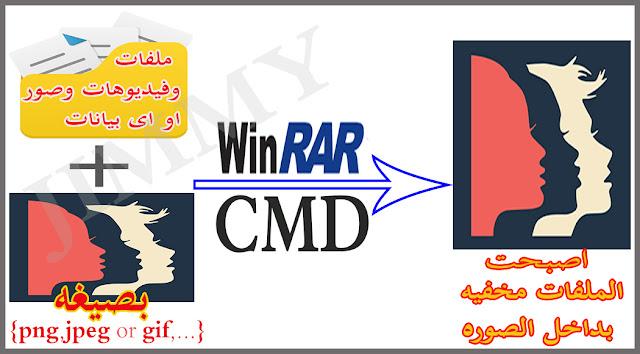 كيفيه وطريقه اخفاء اى ملفات او فيديوهات بداخل صوره باى صيغه فقط باستخدام CMD وبرنامج ضغط الملفات winrar