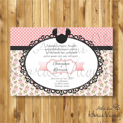 convite digital aniversário infantil personalizado minnie mouse floral poá rosa delicado jardim disney 1 aninho menina gêmeas