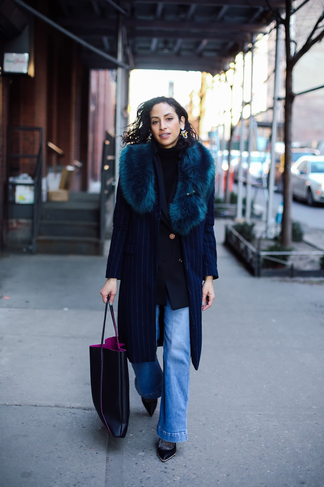 NYFW street style, NYFW, layers in NYC for NYFW, blue fur stole, faux fur, pinstripe blazer, sailor flares, BaubleBar, Reiss blazer, Coach, Ryan Chua