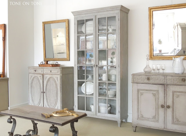 Here is another cabinet with glass doors. With full length glazed doors,  this Swedish vitrine (45