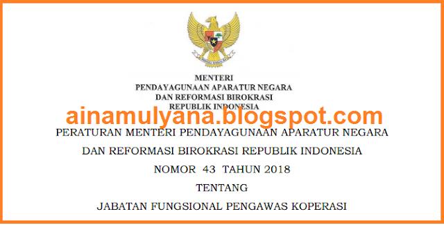 Permenpan RB atau Peraturan Menpan RB Nomor   PERMENPAN RB NOMOR  43  TAHUN 2018 TENTANG JABATAN FUNGSIONAL PENGAWAS KOPERASI