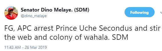 Arrest Uche Secondus and stir up the colony of wahala- Dino Melaye tells FG, APC