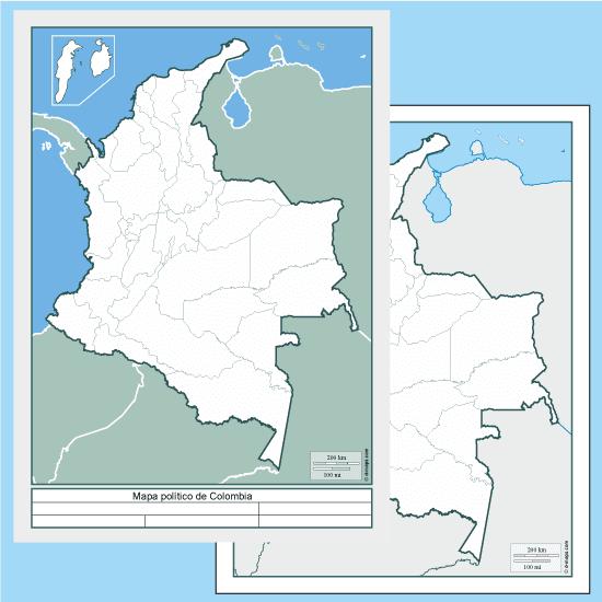 Mapas políticos de Colombia en blanco - Vector