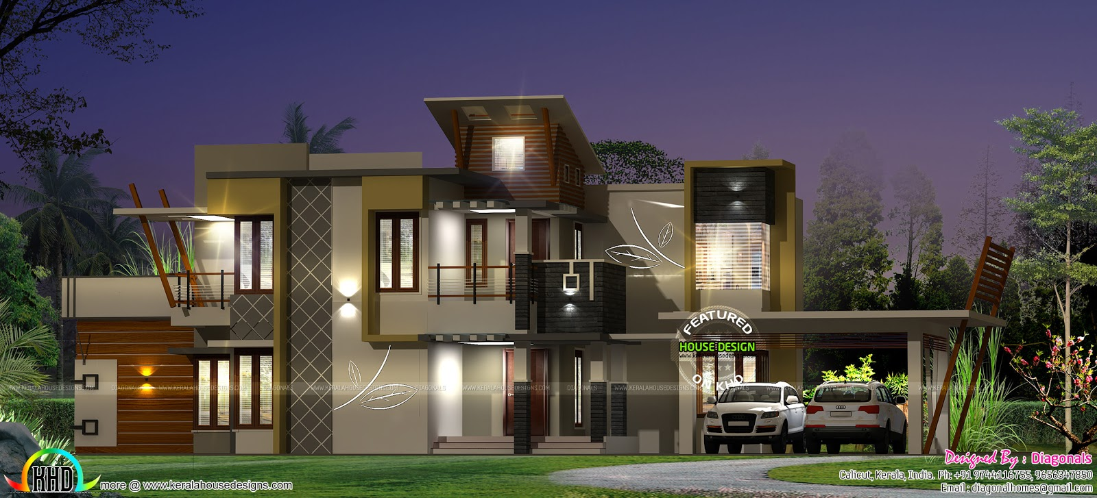 2964 square feet modern house kerala home design and for Modern square house