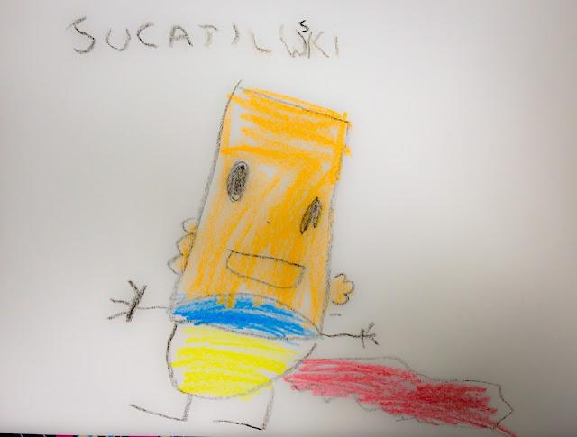 Sucatilwski, o monstro de sucata criado pelo Miguel, com o jogo Imagine-Me.
