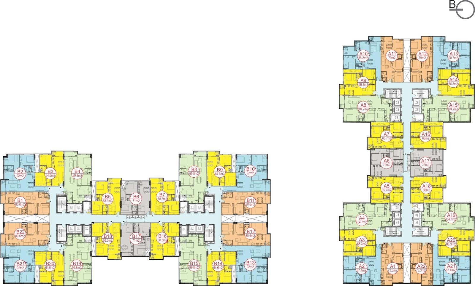 Mặt bằng chung cư Sky Central 176 Định Công