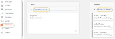 Cara menambahkan widget/gadget pada blog