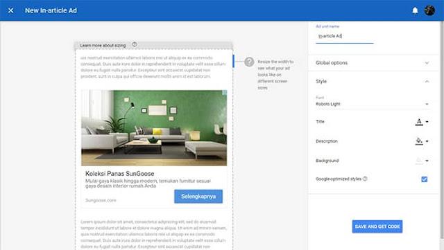 Cara Menambahkan In-Article Ads Google AdSense di Blog