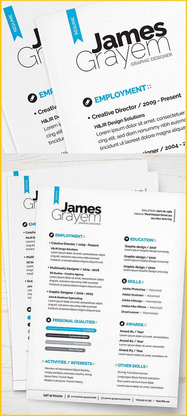 modern clean scannable resume templates indesign - Akba.greenw.co