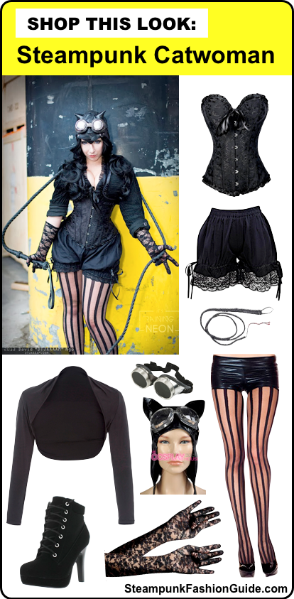 how to dress like steampunk catwoman; clothing and costumes for women