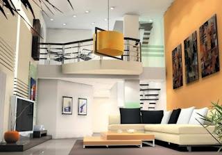 Sala moderna paredes naranjas