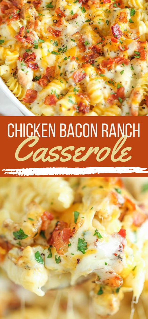CHICKEN BACON RANCH CASSEROLE #casserole #chicken