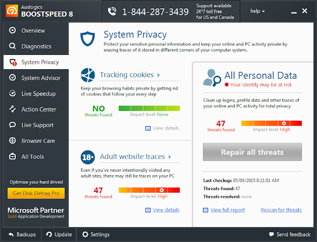 System Privacy - Auslogics Boost Speed 8