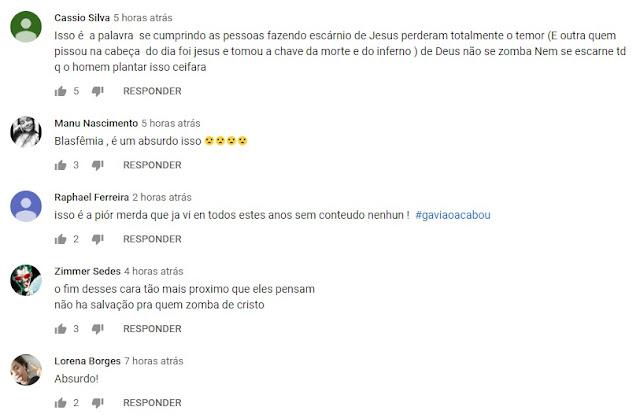 Comentários dos usuários sobre o enredo 2019 da Gaviões da Fiel (Imagem Reprodução/Youtube)