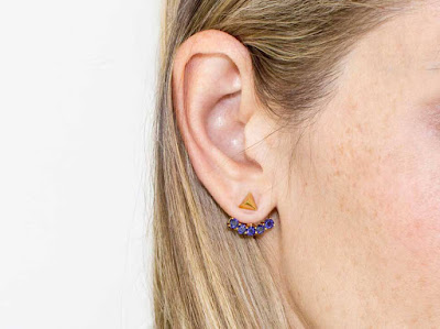 18ct Gold Vermeil Studs with Iolite Arc Jackets - Missoma