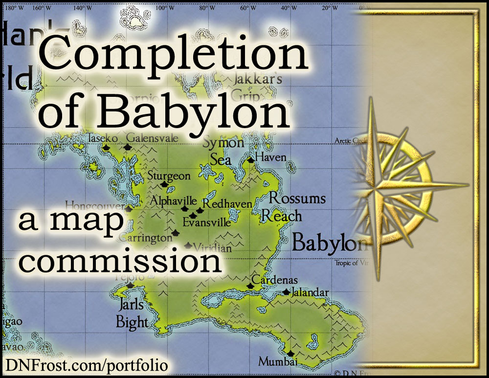 Completion of Babylon: wrapping up with polar ice http://www.dnfrost.com/2015/06/sheridans-completion-map-commission.html A map commission by D.N.Frost for Stephen Everett @DNFrost13 Part 4 of a series.