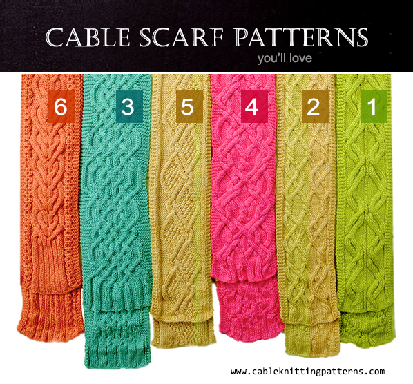6 Cable Scarves that you will love.  ALL Free Knitting Patterns