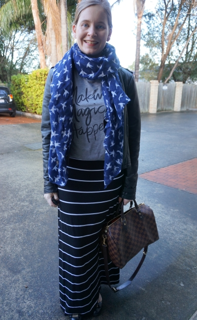 navy bird print scarf magic tee strips maxi skirt leather jacket | AwayFromTheBlue