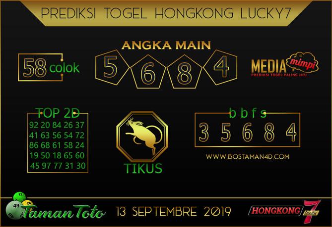 Prediksi Togel HONGKONG LUCKY 7 TAMAN TOTO 13 SEPTEMBER 2019