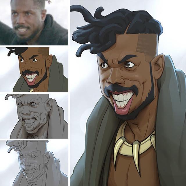 Xi-Ding-ilustra-actores-de-cine-en-personajes-de-cómic