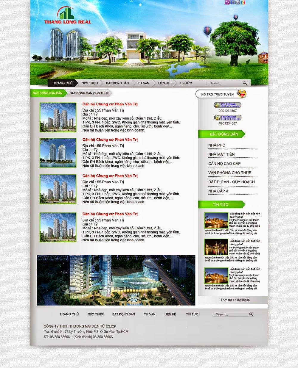 thiết kế web nhà đất