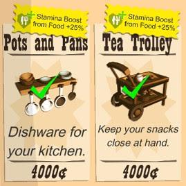 Buy Furnitures that Boosts Food Stamina
