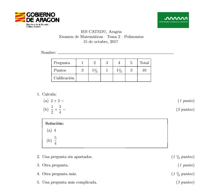 Plantilla LaTeX para exámenes (clase exam)